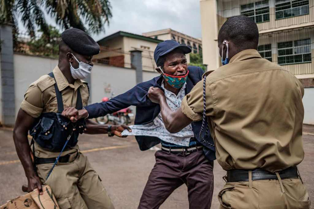 A demonstrator is arrested in Kampala