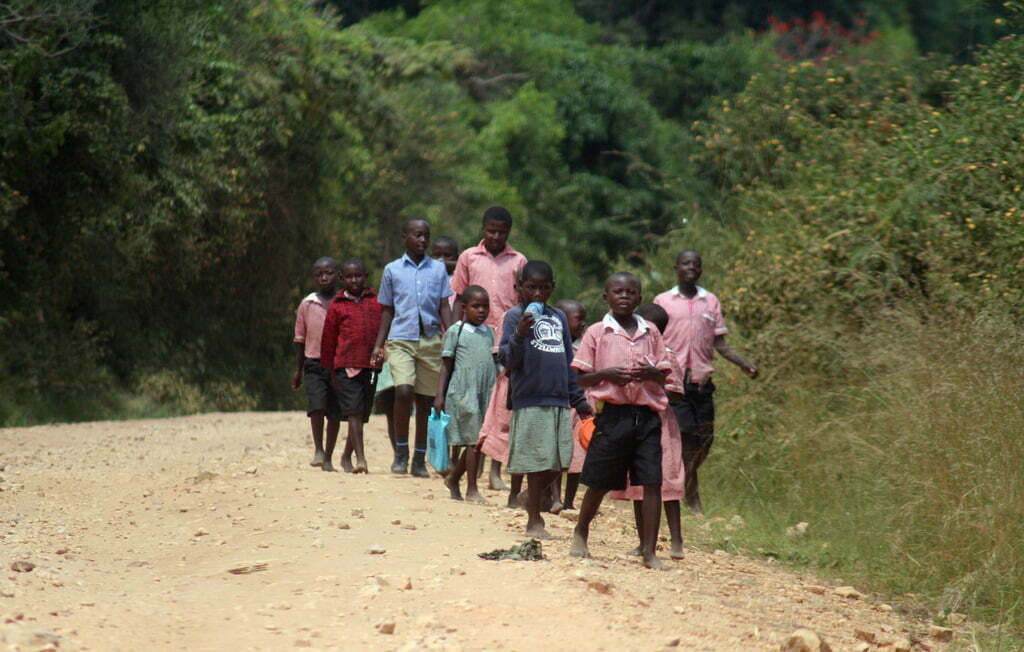 Uniformed kids on their way home from school