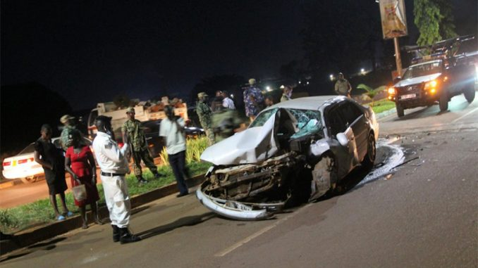 An accident involving a saloon car and a train