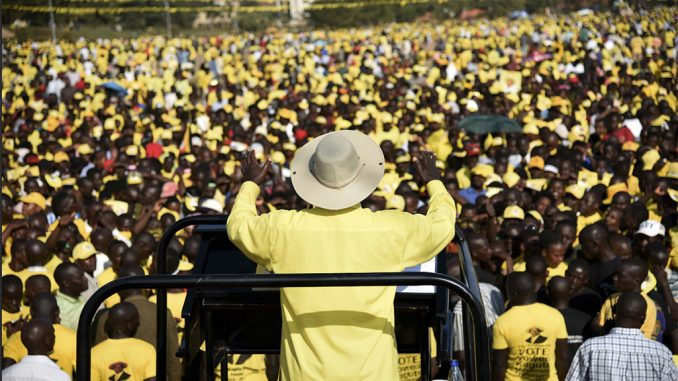Ugandan President Yoweri Museveni addresses supporters in Kampala, Feb. 16, 2016. Controversial new rules ban mass gatherings during campaigning for the 2021 general election. COURTESY PHOTO/AFP