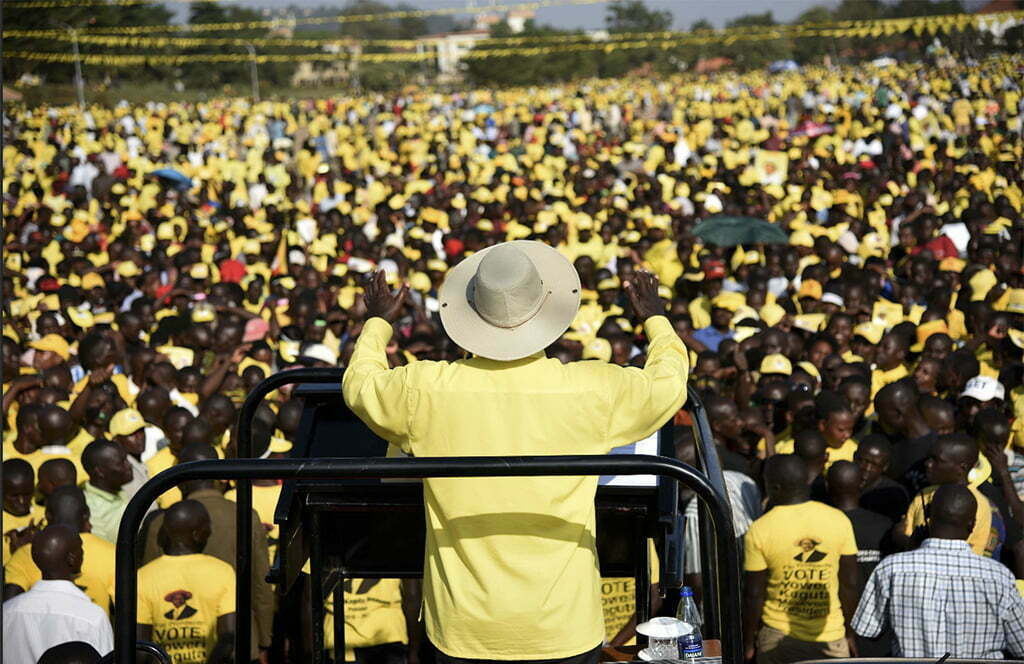 President Museveni addresses supporters in Kampala in 2016