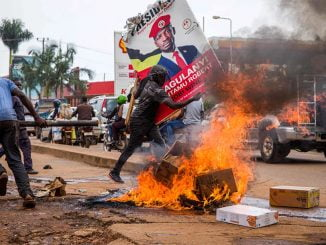 Bobi Wine's supporters in protest following his arrest