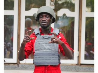 Bobi Wine dressed in bullet proof gear