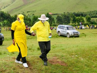 President Museveni holding hands with first lady Janet Museveni