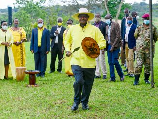 President Museveni with spear and shield