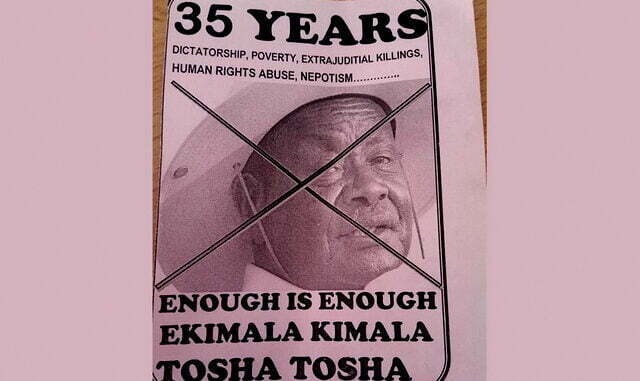 circulating leaflets against Museveni's 35-year rule
