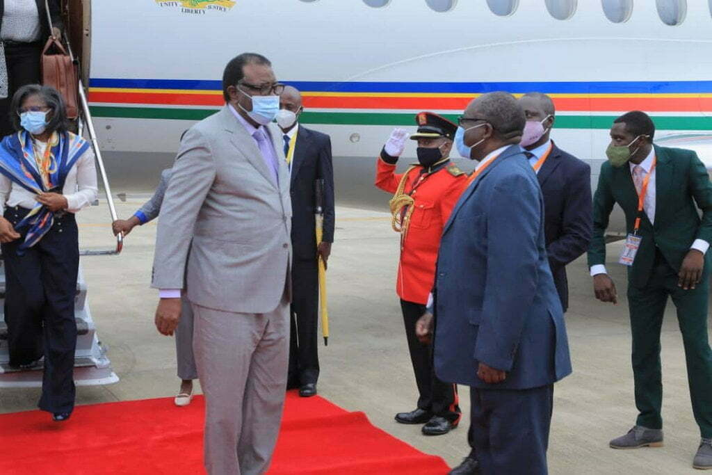 Namibia president Hage Gottfried Geingob (left) arrives at Entebbe Airport in Uganda ahead of President Museveni's swearing-in