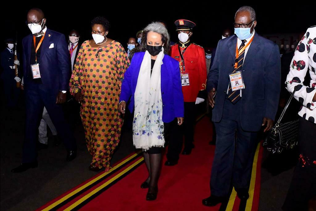 The president of the Federal Republic of Ethiopia, Sahle-Work Zewde arrives in Uganda on May 11, 2021