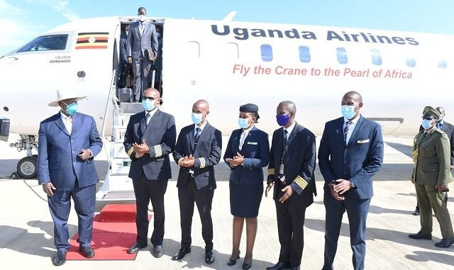 Museveni on his maiden flight aboard Uganda Airlines