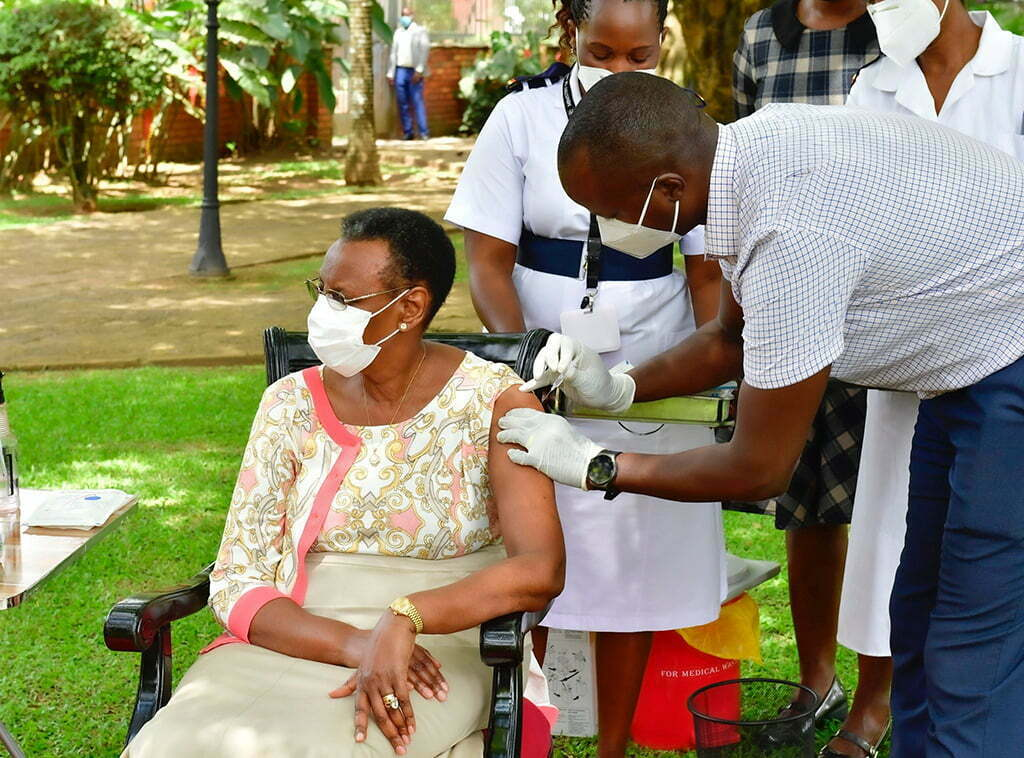Ugandan First Lady, Janet Museveni receives the second dose of the Oxford-AstraZeneca COVID-19 jab