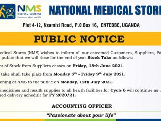 PUBLIC NOTICE: National Medical Stores (NMS) Stock Take